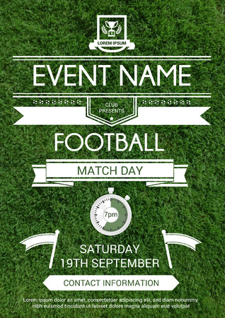 Vector illustration of sport flyer invitation card with realistic grass background. Football tournament design template.