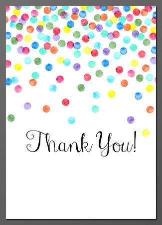 Vector illustratie van Thank You kaart versierd met waterverf confetti