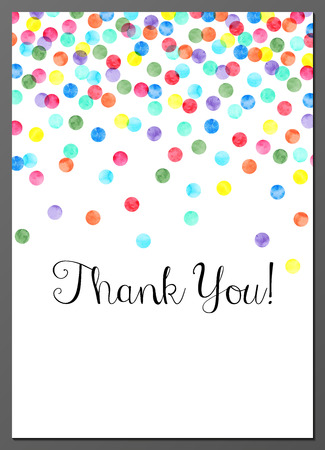 Vector illustration of Thank You card decorated with watercolor confetti Ilustração