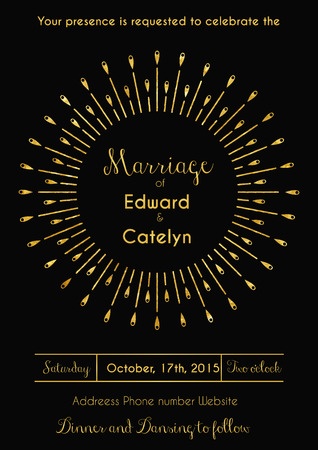 Vector illustration of vintage wedding invitation design template in art deco style with glittering golden sunburst