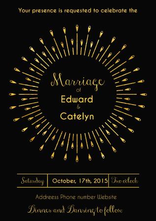 Vector illustratie van vintage trouwkaart ontwerp sjabloon in art deco stijl met glinsterende gouden zonnestraal
