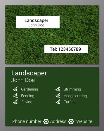 Vector illustration of gardener business card design template vector vector illustration of gardener business card design template with realistic grass texture wajeb Choice Image