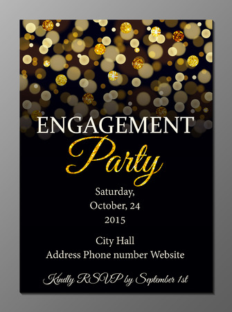 engagement: Vector illustration of party invitation card design template decorated with golden glitter