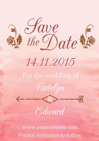 caes: Ilustración vectorial de guardar la plantilla de diseño de tarjeta de fecha decorado con acuarela y texturas brillantes
