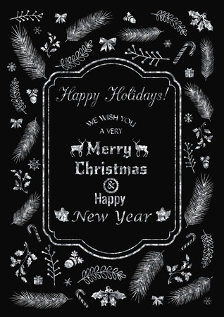 Vector illustration of Happy Holidays greeting or invitation card decorated with silver Christmas elements