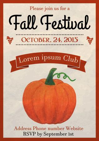 Vector illustratie van de val festival flyer design template versierd met aquarel geschilderde pompoen