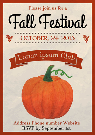 Vector illustration of fall festival flyer design template decorated with watercolor painted pumpkin