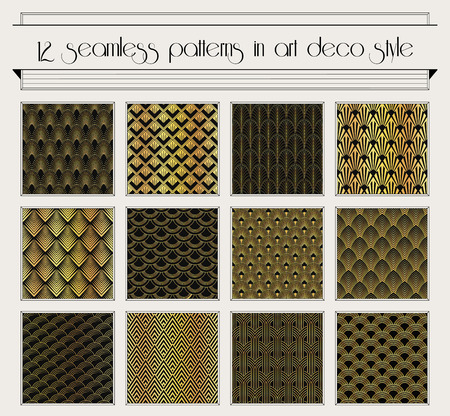 retro seamless pattern: set of seamless patterns in art deco vintage style