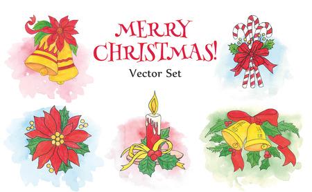 Vector set of hand drawn watercolor Christmas and New Year symbols