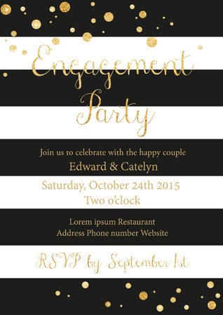 engagement party: illustration of engagement party invitation card in vintage style with golden glittering lettering