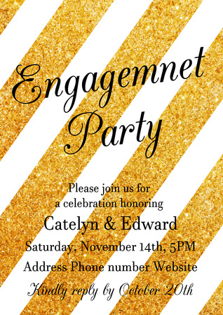 engagement party: Vector illustration of engagement party invitation design template with golden glittering decoration