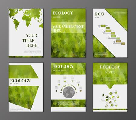 folleto: Vector conjunto de folleto o volante plantilla de diseño. Aplicaciones y Servicios en línea Infografía Concept. Elementos de Infografía relativas a la ecología, energía reneable y temas de desarrollo sostenible