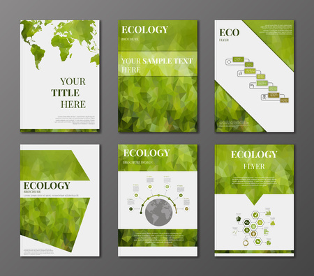 green texture: Vector set of brochure or flyer design template. Applications and Online Services Infographic Concept. Infographic elements concerning to ecology, reneable energy and sustainable development themes