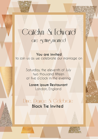 Vector illustration of abstract invitation card design template in art deco style