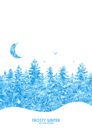 Vector illustration of winter poster with frosty forest