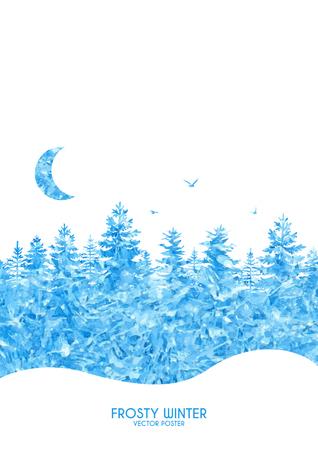 Ilustración del vector del cartel de invierno con bosque helada