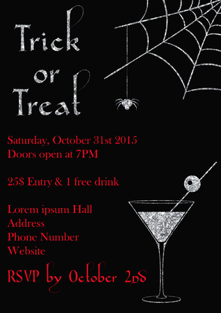 Vector illustration of Halloween party invitation design template with glittering decoration Illustration