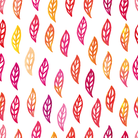 Vector illustration of watercolor colorful autumn leaves seamless pattern
