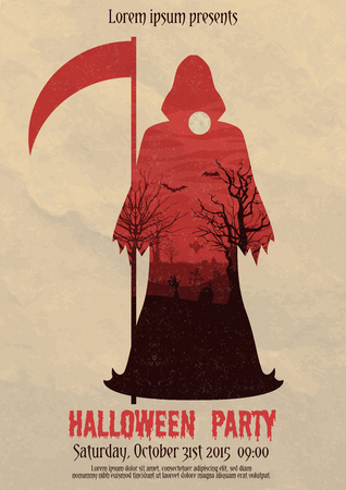 Vector illustration of Halloween party invitation or flyer design template