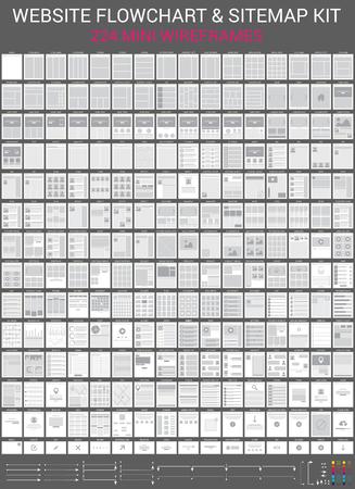 diagrama de flujo: Conjunto de vectores de la p�gina web de diagrama de flujo y el mapa tarjetas. Mini wireframes kit.