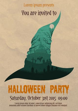 Vector illustration of vintage Halloween party invitation or flyer design template Illustration