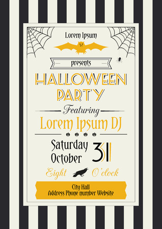 Vector illustration of Halloween party flyer decorated with traditional Halloween symbols