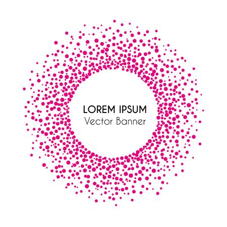 Vector illustratie van cirkel banner en achtergrond met roze confetti