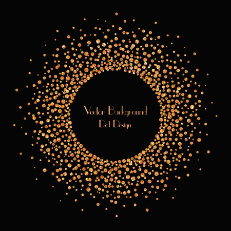 art logo: Vector illustration of circle banner and background with golden confetti