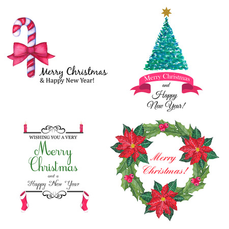 Vector set of hand drawn watercolor labels and logos. Christmas and New Year collection of design elements.
