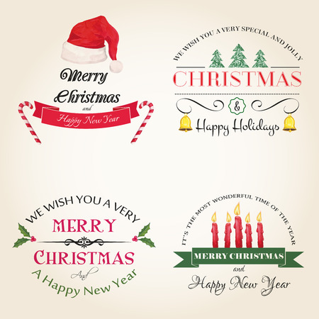 christmas candy: Vector set of hand drawn watercolor labels and logos. Christmas and New Year collection of design elements.