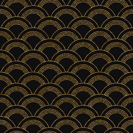 Vector illustration of seamless pattern in art deco style. Golden glittering texture. Vettoriali