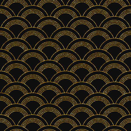 Vector illustration of seamless pattern in art deco style. Golden glittering texture. Vectores