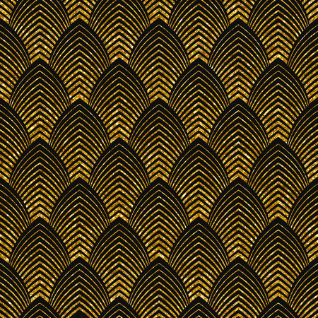 Vector illustration of seamless pattern in art deco style. Golden glittering texture. Çizim