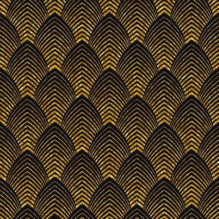 simple: Vector ilustración de patrón transparente en estilo art deco. Textura brillante de oro.