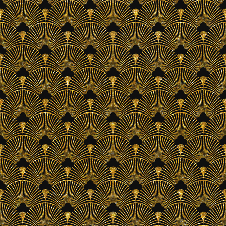 Vector illustration of seamless pattern in art deco style. Golden glittering texture.