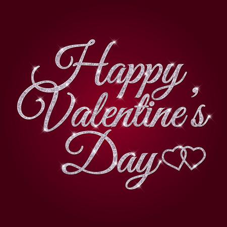 Vector illustration of St. Valentines Day silver glittering lettering design. Illustration