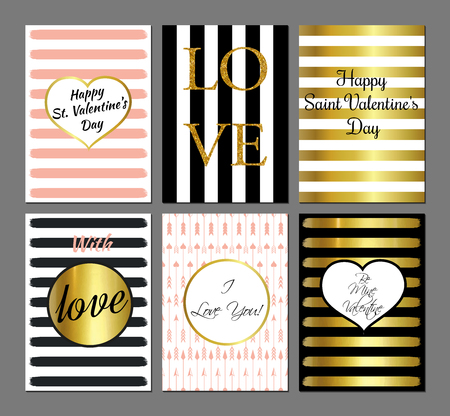 pink and black: Vector set Saint Valentines Day modern cards in black, gold and pink colors. Illustration
