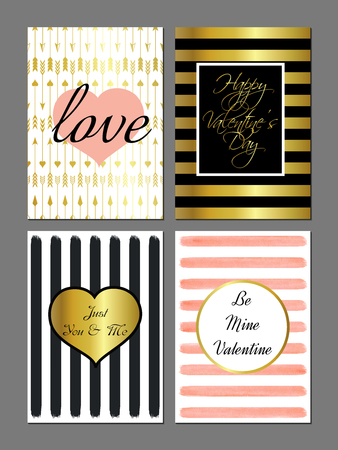 postcards: Vector set Saint Valentines Day modern cards in black, gold and pink colors. Illustration