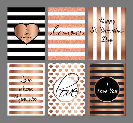 Vector set Valentijnsdag moderne kaarten in roze en zwarte kleuren.