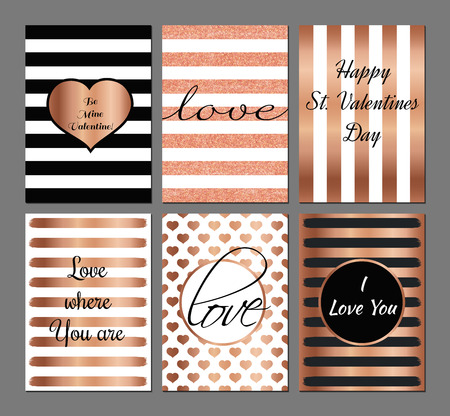 glitter hearts: Vector set Valentines Day modern cards in rose and black colors.