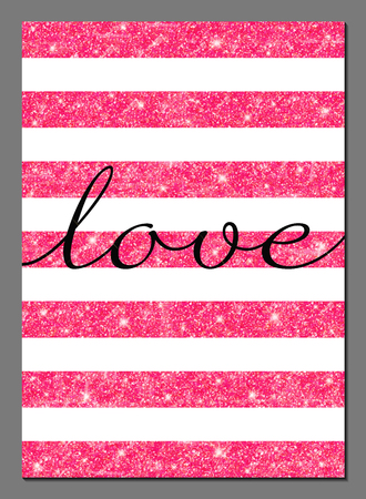 Vector illustration of modern card design template with pink glittering texture. Valentines Day card. Illustration