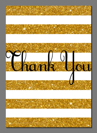 Vector illustration of vintage card design template with golden glittering rays. Thank You card.