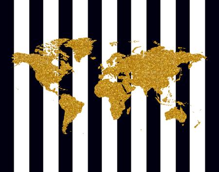 Vector illustration of golden glittering world map on black stripes Illustration