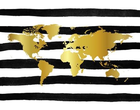 Vector illustration of golden world map on hand drawn ink stripes