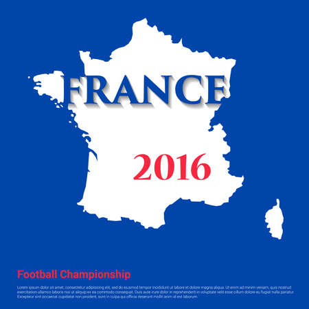 illustration of France map. Football championship in France in 2016.