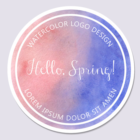 serenity: illustration of design template with round shape. Hello, spring lettering. Watercolor texture in rose quartz and serenity colors.