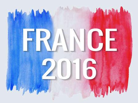 Vector illustration of watercolor France flag. France summer 2016 background.