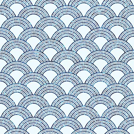 Art deco seamless print. Japanese semi circles pattern. Glitter texture  イラスト・ベクター素材