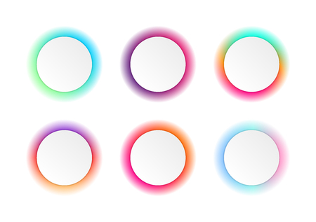 Vector set of colorful round banner templates. Gradient colors. Origami paper stickers.