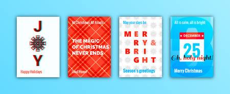 Set of winter holidays season greeting cards. Merry Christmas decoration elements and lettering. Trendy minimal design template for posters, flyers, prints, invitations, banners.